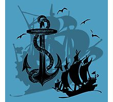 Pirate Ships & Anchor Black Silhouette Photographic Print