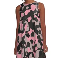 pink gray and black camo abstract 2 A-Line Dress
