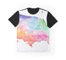 Multicolor Map of the United States with Watercolor Texture  Graphic T-Shirt