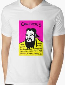 Pop folk art of Chinese philosopher Confucius Mens V-Neck T-Shirt