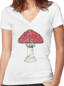Fly Agaric Toadstool Women's Fitted V-Neck T-Shirt