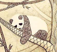 Zentangle Patterned Panda by AmandaRuthArt