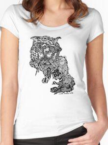 Dragon Cat Pattern Light Women's Fitted Scoop T-Shirt