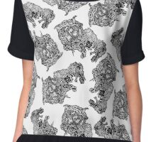 Dragon Cat Pattern Light Chiffon Top