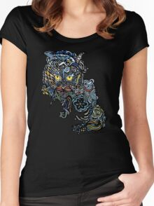 Dragon Cat Color on Black Women's Fitted Scoop T-Shirt