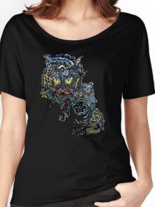 Dragon Cat Color on Black Women's Relaxed Fit T-Shirt