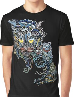 Dragon Cat Color on Black Graphic T-Shirt