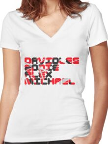 David Lee Eddie Alex Michael Women's Fitted V-Neck T-Shirt