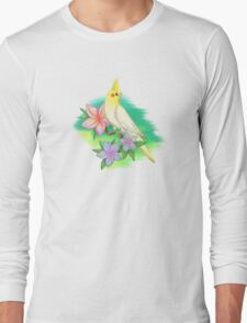 White cockatiel with tropical fantasy flowers Long Sleeve T-Shirt