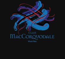 Clan MacCorquodale - Prefer your gift on Black/White tell us at info@tangledtartan.com  Unisex T-Shirt