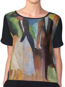 Vintage famous art - August Macke - People By The Blue Lake Chiffon Top