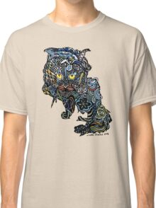 Dragon Cat Color on Faded Mint Blue Pattern Classic T-Shirt