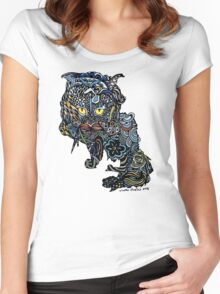 Dragon Cat Color on Faded Mint Blue Pattern Women's Fitted Scoop T-Shirt