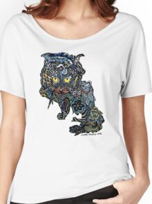 Dragon Cat Color on Faded Mint Blue Pattern Women's Relaxed Fit T-Shirt