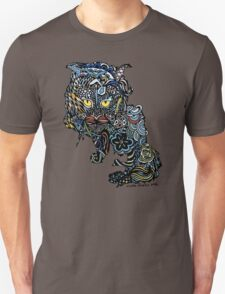 Dragon Cat Color on Faded Mint Blue Pattern Unisex T-Shirt