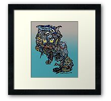 Dragon Cat Color on Faded Mint Blue Pattern Framed Print