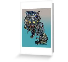 Dragon Cat Color on Faded Mint Blue Pattern Greeting Card
