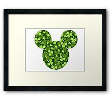 Mouse Shamrock Patterned Silhouette Framed Print
