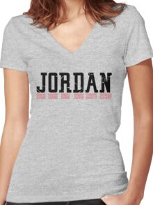 Michael Jordan Championship years  Women's Fitted V-Neck T-Shirt