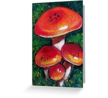 Red Mushrooms in Oil Pastel, Toadstools Greeting Card