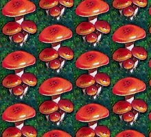 Red Mushrooms in Oil Pastel, Toadstools by Joyce Geleynse