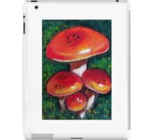 Red Mushrooms in Oil Pastel, Toadstools iPad Case/Skin