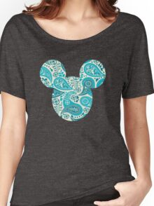 Mouse Paisley Patterned Silhouette Women's Relaxed Fit T-Shirt
