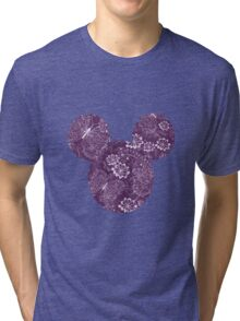 Mouse Exquisite Butterfly Patterned Silhouette Tri-blend T-Shirt