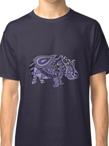Cool Funky Funny Blue Hippo Abstract Art Classic T-Shirt