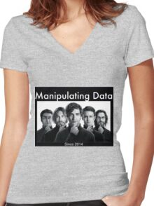 Silicon Valley: Manipulating Data Women's Fitted V-Neck T-Shirt