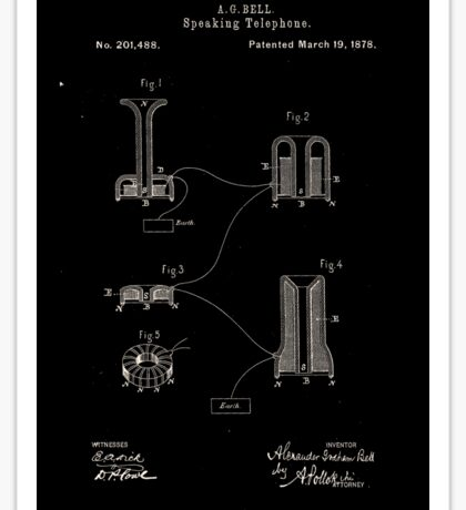 Alexander Bell Speaking Telephone Patent 1878 Sticker