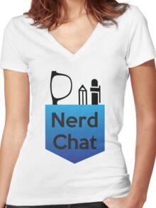 Nerd Chat Podcast Logo (Gradient) Women's Fitted V-Neck T-Shirt