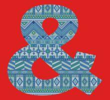 Letter & Ampersand Blue Aztec Stripes Pattern Boho Monogram Initial Kids Tee