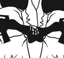 2 soldaten maschinengewehr horror armee helm krieg zombie skelett böse soldat kämpfer waffe biohazard symbol zeichen  Sticker