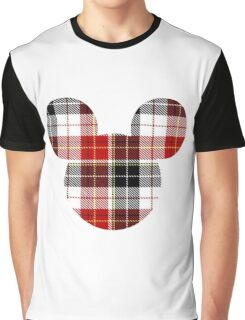Mouse Checkered Patterned Silhouette Graphic T-Shirt