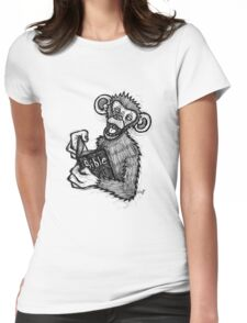 Monkey Laughing At Bible Womens Fitted T-Shirt