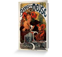 'Bieres de la Meuse' by Alphonse Mucha (Reproduction) Greeting Card