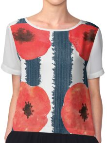 Poppies. Watercolor on paper Chiffon Top