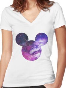 Mouse Galaxy Patterned Silhouette Women's Fitted V-Neck T-Shirt