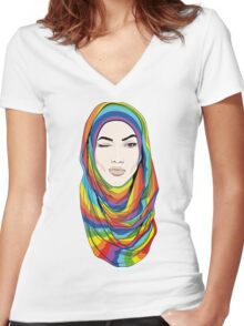 Rainbow Hijab Women's Fitted V-Neck T-Shirt