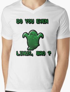 LINUX BRO Mens V-Neck T-Shirt