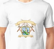 Fishing Rod Reel Hooking Blue Marlin Ribbon Coat of Arms Drawing Unisex T-Shirt
