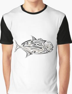 Giant Trevally Side Isolated Tribal Art Graphic T-Shirt