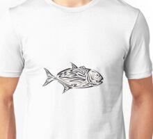 Giant Trevally Side Isolated Tribal Art Unisex T-Shirt