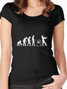 Scary and Funny zombie Evolution walking Women's Fitted Scoop T-Shirt