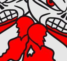 2 freunde team party gehirn comic cartoon kleiner böser süßer kinder zombie gefährlich grimmig  Sticker