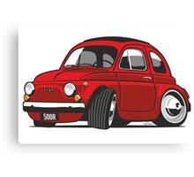 Fiat 500R caricature red Canvas Print