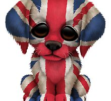 Cute Patriotic British Flag Puppy Dog by Jeff Bartels