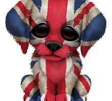 Cute Patriotic British Flag Puppy Dog by Jeff Bartels