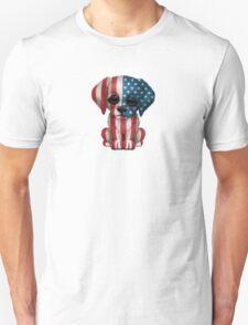 Cute Patriotic American Flag Puppy Dog Unisex T-Shirt